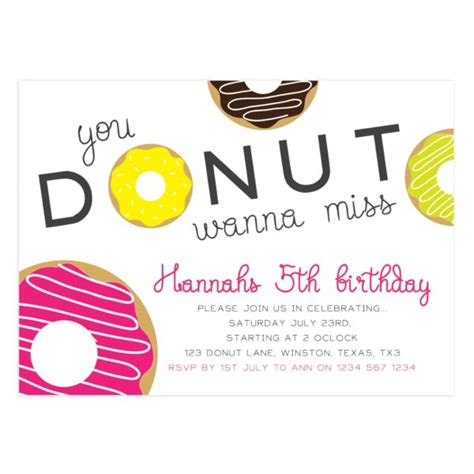 Donut Birthday Invitation Template Mockaroon