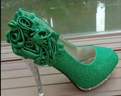 bride shoes green high heels flowers marriage womens
