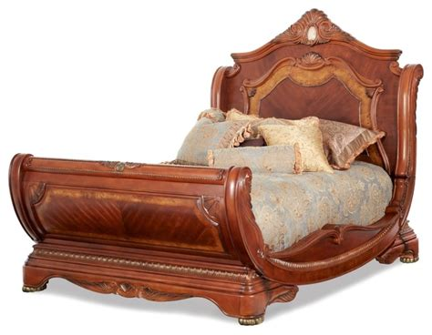 furniture sleigh bed aico furniture cortina sleigh bed in honey walnut