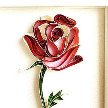 rose paper quilled framed single red rose quilled paper