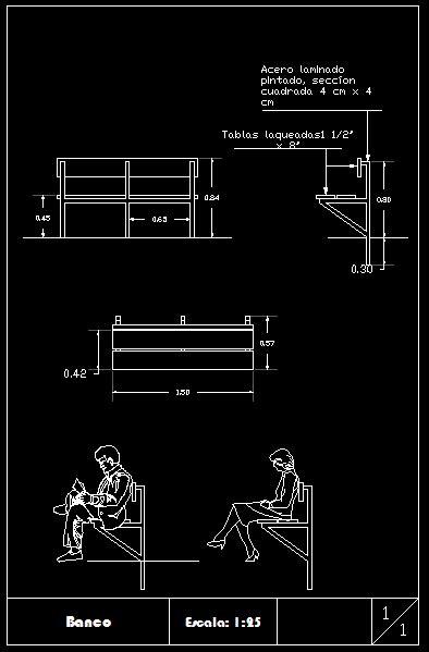wooden park bench  metal frame  autocad cad