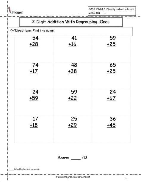 digit addition  regrouping worksheet  images