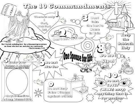 Have students fold the paper in half separating the two columns with the print facing up. Coloring Pages: Lesson Kids For Christ Bible Club Ten Commandments ... | Ten commandments kids ...