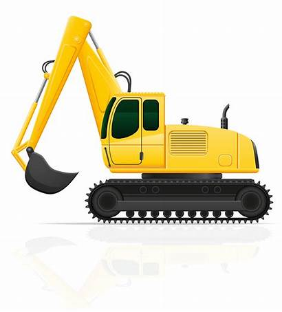 Excavator Vector Illustration Road Works Clipart Vectors