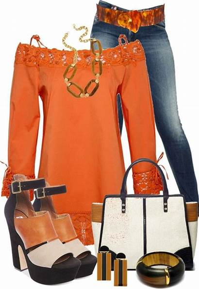 Outfits Stylish Outfit Polyvore Ropa Orange Chic