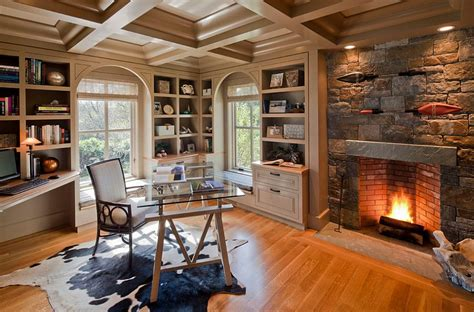 Gorgeous Ideas For A Sizzling Home Office With Fireplace