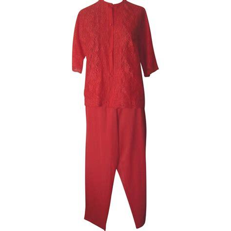 vintage vanity fair bright orange pajamas  lace