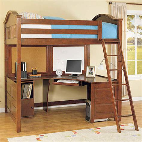 bunk bed with computer desk full size loft bed with desk on pinterest girls bedroom