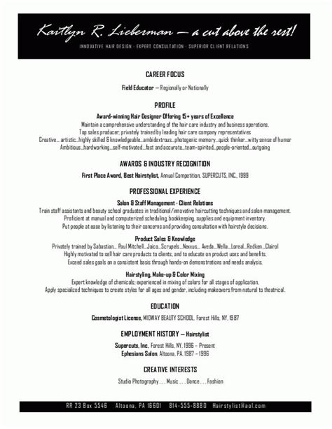 Sample Resume For Cosmetologist 50 Best Templates