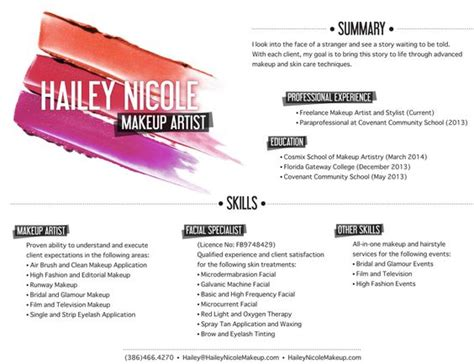 artist resume makeup artists  resume  pinterest