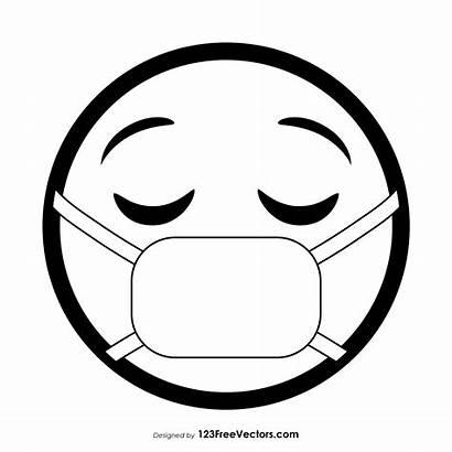 Emoji Mask Face Medical Outline Vector Graphics