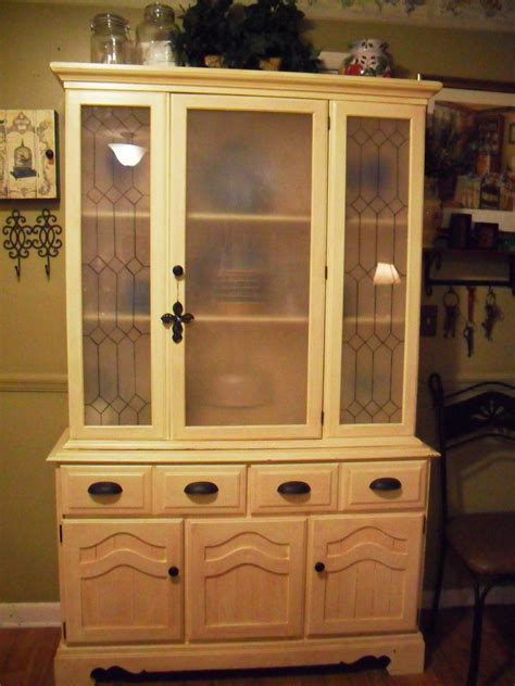 China Cabinet Used by 70s China Cabinet With Oak Finish Primed