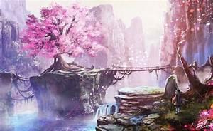 Wallpaper Anime Landscape, Cherry Blossom, Bridge ...