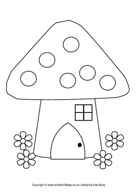 fairy house colouring page