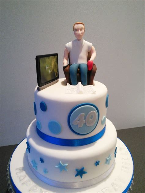 birthday cake man watching tv   birthday cake