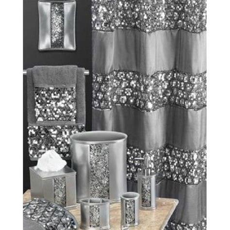 silver gray shower curtains shiny glitter bath sequined