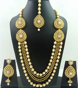 WHITE CRYSTAL PEARL GOLD TONE INDIAN RANI HAAR LONG ...