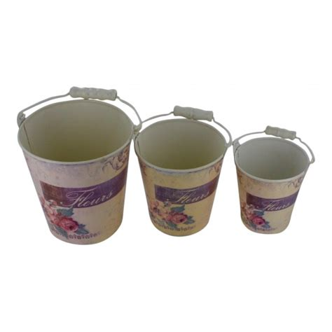 set of 3 metal flower pots with handle vintage design quot fleurs quot my