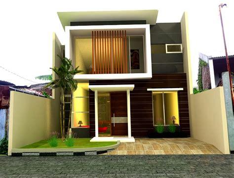 dua lantai gaya kontemporer keren rumah minimalis fasad
