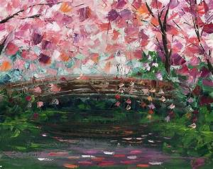 Cherry Blossom Bridge Painting by Ash Hussein