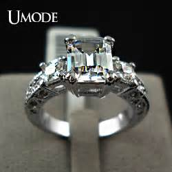 cz engagement rings white gold umode exclusive the white gold plated rectangle emerald cut cz zircon engagement rings jr0060
