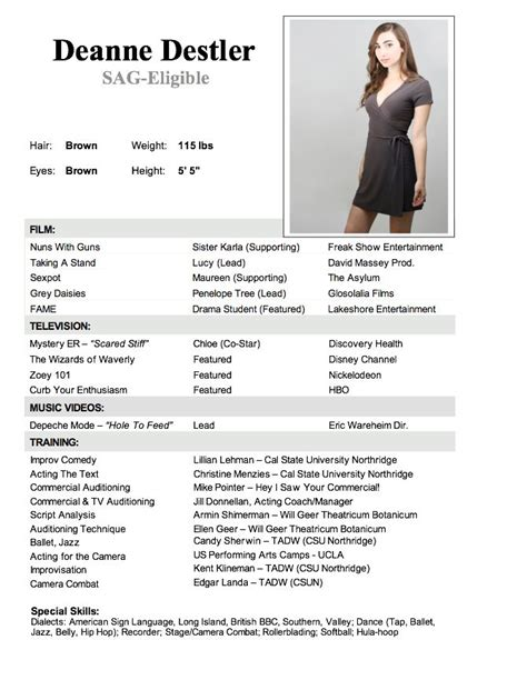 Talent Resume For Child by 7 Best Images About Child Actor R 233 Sum 233 On