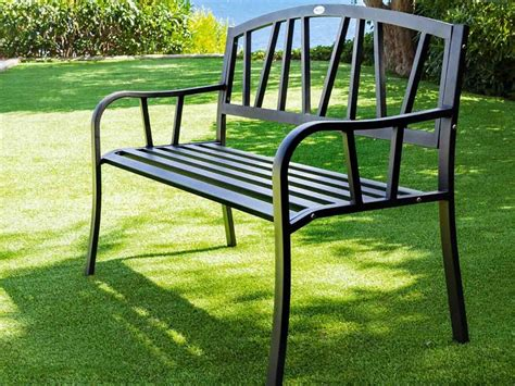 banc noir banc de jardin en m 233 tal alvernia noir hesperide jardideco