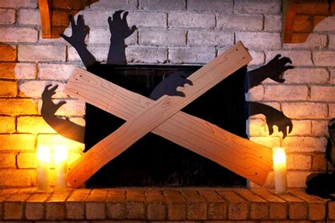 halloween party zombie decor diy dead walking fireplace themed decorations decoration perfect decorating creepy cardboard spooky budget fire place inspired