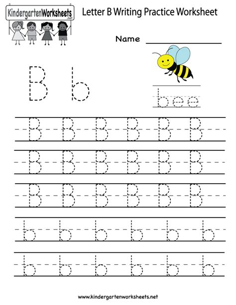 kindergarten letter b writing practice worksheet printable writing practice worksheets