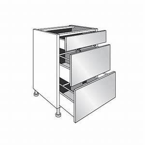 Meuble Bas Avec Tiroir : meuble de cuisine bas range casseroles avec 3 tiroirs l ~ Edinachiropracticcenter.com Idées de Décoration
