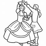 Coloring Dance Dancing Princess Pages Prince Popular sketch template
