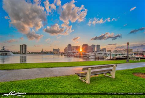 West Palm Beach Skyline Sunset Bench