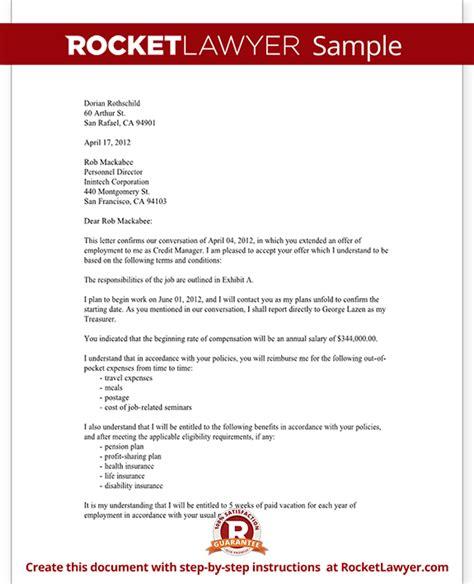 job acceptance letter  employee sample employment