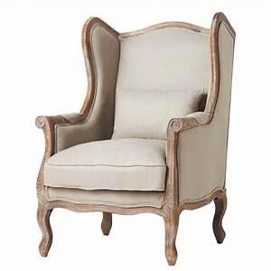 Linen wing armchair Manoir Maisons du Monde