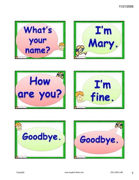English For Kids,esl Kids Dialogue Flashcards Selfintroduction And Asking For Name