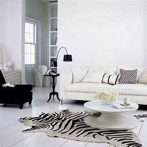 White living room design with black chair and lamp also for Inspiration ideas for black and white rug