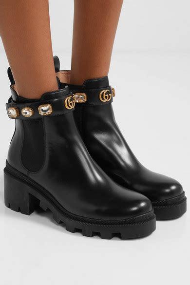 gucci crystal embellished leather chelsea boots net  portercom
