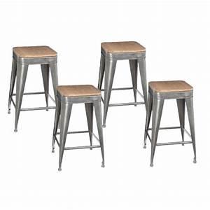 Tabouret De Bar Gris : lot de 4 tabourets de bar joris 60cm gris ~ Teatrodelosmanantiales.com Idées de Décoration