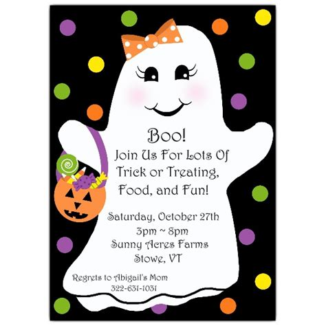 adorable ghost girl halloween invitations paperstyle