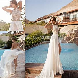 aliexpresscom buy yw002 new arrival chiffon sexy off With two piece beach wedding dress
