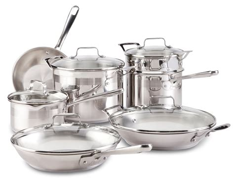 stainless cookware steel emeril clad chef piece kitchen chefs silver professional emerilware sets pans pots dishwasher safe usa master aluminum