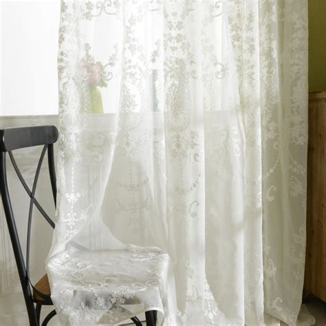 White Sheer Voile Curtains by Tulle Curtains Luxury Embroidered White Sheer Curtain