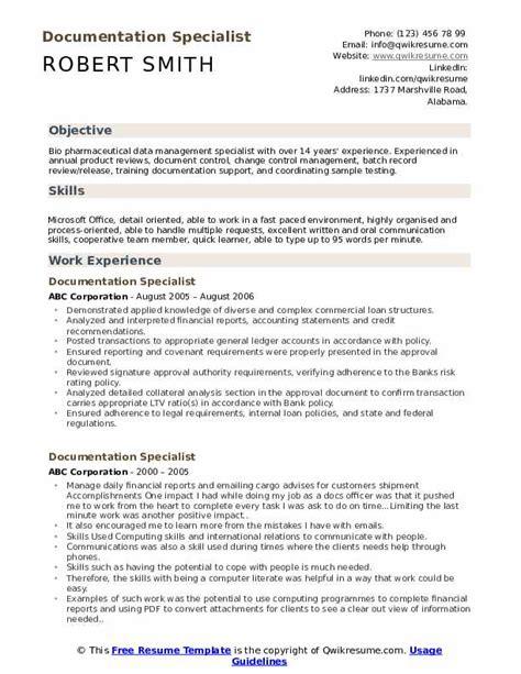 documentation specialist resume sles qwikresume