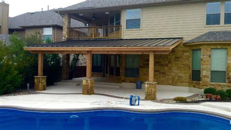 cedar patio cover   metal roof stone columns yelp