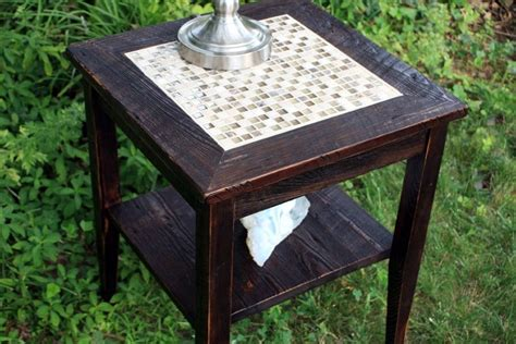 crafted end table glass tile mosaic