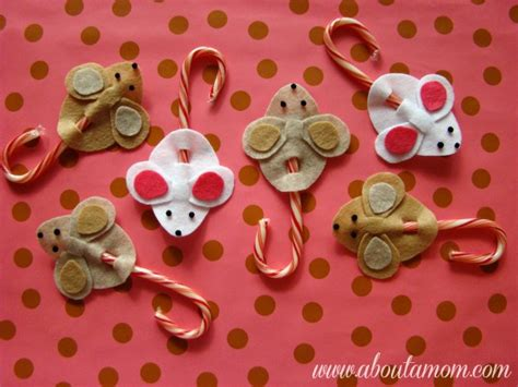 candy cane mice holiday craft project