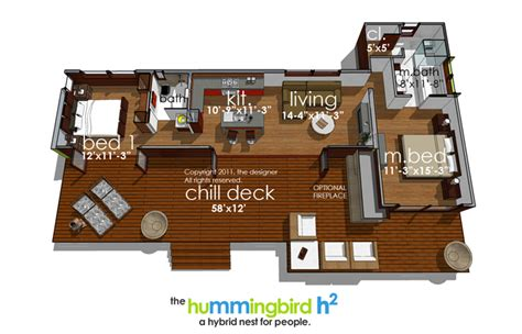 green modern style house plan  hummingbird