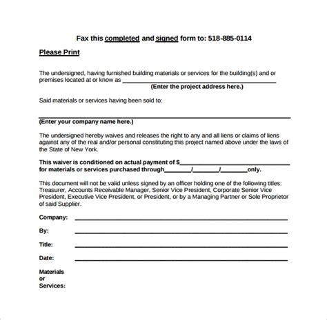 lien release forms   sample templates