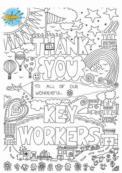 Creative Key Worker Station Colour Thank Drawing