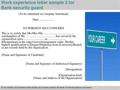 manager resumes sample bank security guard experience letter